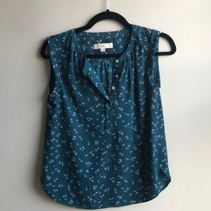 Loft Teal Sleeveless Floral Popover Top